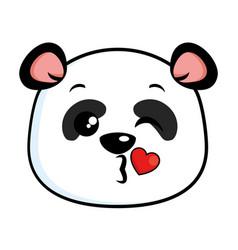 Cute panda lovely emoji kawaii vector