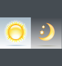 day and night with sun and moon vector image