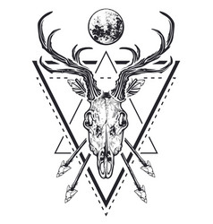 Deer skull sacred geometry vector