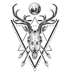 deer skull sacred geometry vector image