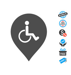 Disabled person parking marker icon with free vector