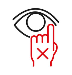 Dont touch your eye line bicolor style icon vector