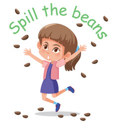 English idiom with picture description for spill vector