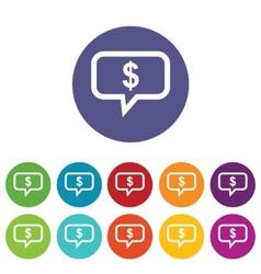 Financial message icon set vector image