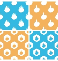 Flame pattern set colored vector image