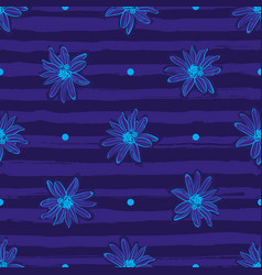 Flower pattern seamless trendy striped blue vector
