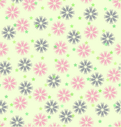 flower pattern with stars seamless background vector image