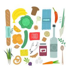 food hand drawn set healthy ingredient vector image