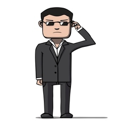 Funny cartoon bodyguard Security vector