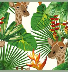 Giraffe flowers leaves seamless pattern white vector