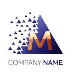 golden letter m logo symbol in blue pixel triangle vector image