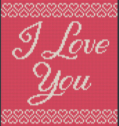 greeting card knitted texture with text and hearts vector image