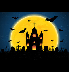 Halloween graveyard church vector