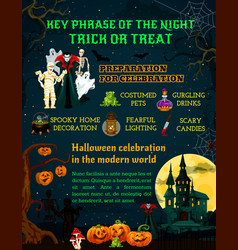 halloween night trick or treat information poster vector image
