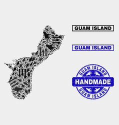 Handmade composition guam island map and vector