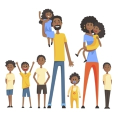 Happy Black Family With Many Children Portrait vector