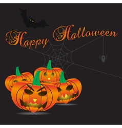 happy halloween carved pumpkins and scary vector image