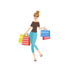 Happy Shopaholic Girl With Paper Shopping Bags vector