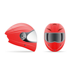 High quality red motorcycle helmet front and side vector