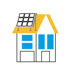 house with solar roof panel for real estate vector image