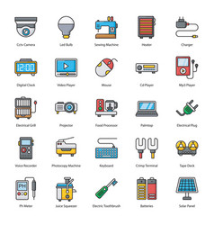 Household and electronic appliances flat vector