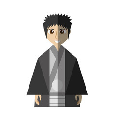 Japanese man wearing traditional dress shadow vector