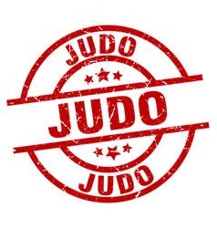 Judo round red grunge stamp vector