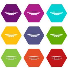 Katana japanese sword icon set color hexahedron vector