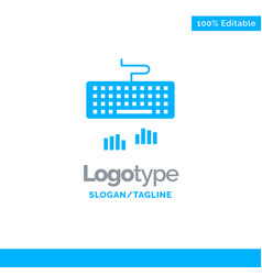 Keyboard interface type typing blue business logo vector