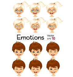kids showing different facial expressions vector image