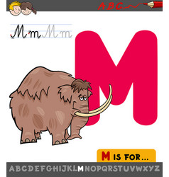 letter m worksheet with cartoon mammoth vector image