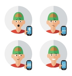 Man character with phone emotions vector