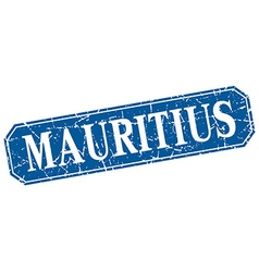 Mauritius blue square grunge retro style sign vector image