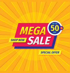 Mega sale discount up to 50 off - layout vector