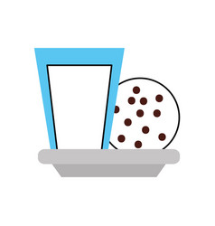 Milk glass and cookie chocolate chips snack vector