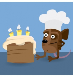 mouse looking at birthday cake vector image