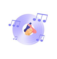 music cd vinyl icon with woman headphones vector image