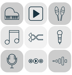 music icons set with microphone music shuffle vector image