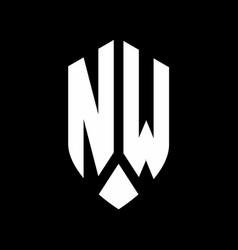 nw logo monogram with emblem shield style design vector image