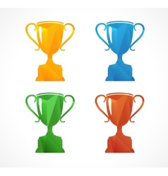 Paper icon set flat sports cup vector image