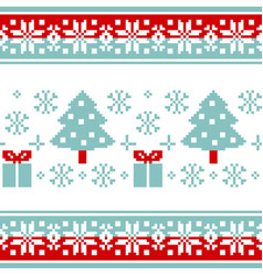 pattern for knitting with christmas tree and gifts vector image