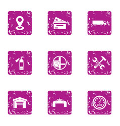 Payment for positioning icons set grunge style vector