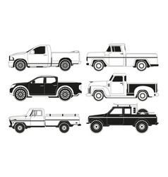 Pickup truck silhouettes black pictures of vector