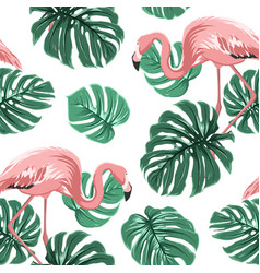 Pink flamingo birds green monstera leaves pattern vector