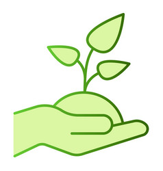 plant in hand flat icon sprout in hand green vector image