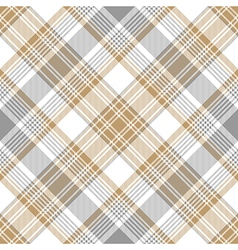 Platinum gold tartan diagonal seamless pattern vector