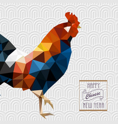 Polygonal style rooster on white chinese pattern vector