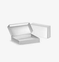 realistic detailed 3d blank packaging boxes open vector image