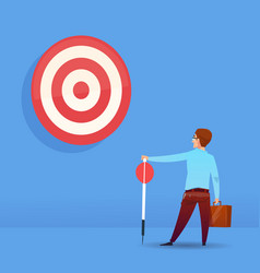rear view businessman holding arrow target vector image