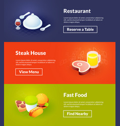 restaurant steak house and fast food banners of vector image